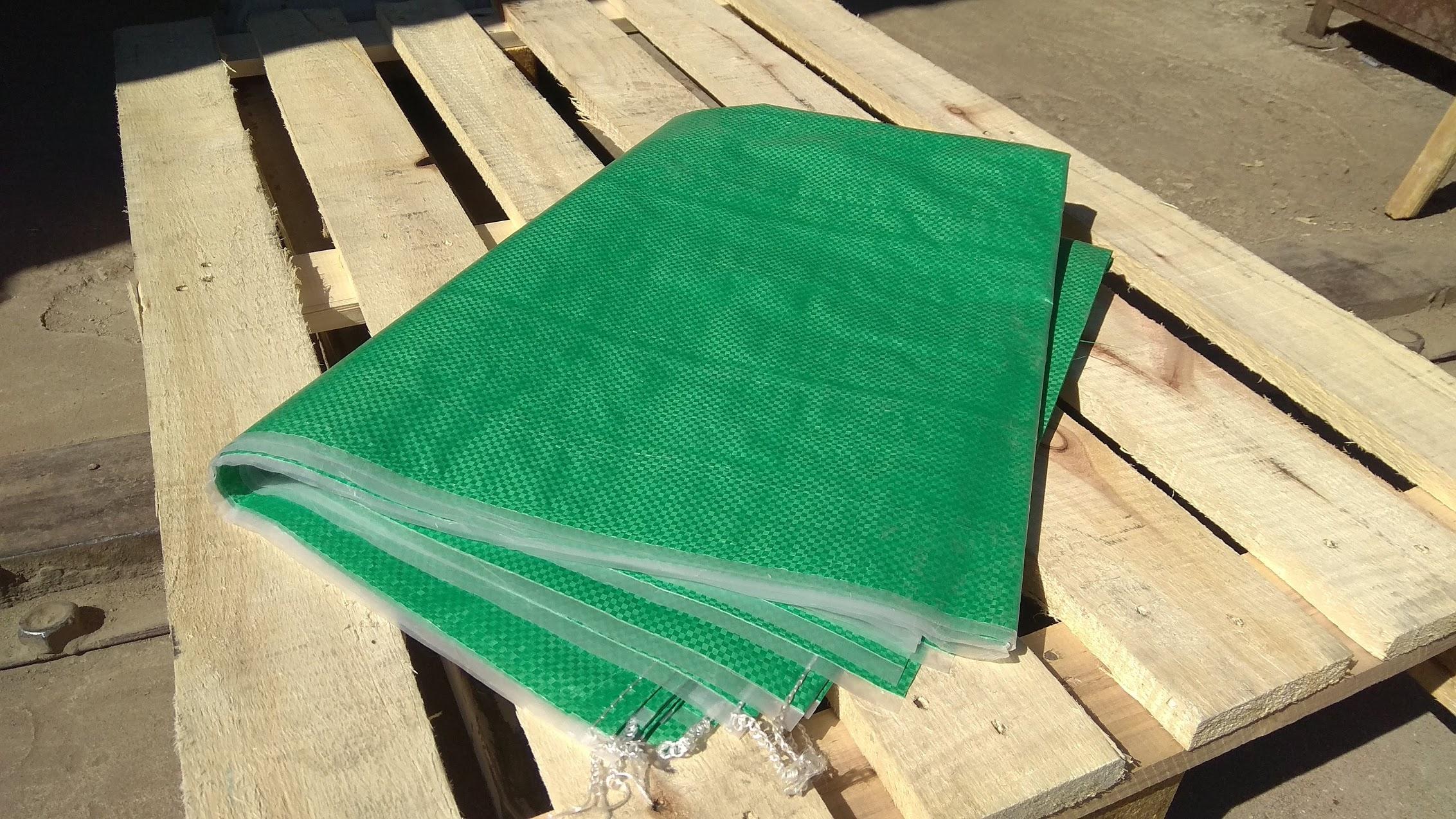 Мешки полипропиленовые  140 * 170 см, ламинированные. большие  на 100 кг, зеленые/красные. вес 270 гр